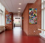 Small Entrance & Big Entrance, 160 x 80 cm & 200 x 100 cm, acrylic and oil on canvas, 2019. Nuklearmedicin & PET, Aarhus University Hospital, Skejby. Ny Carlsbergfondet